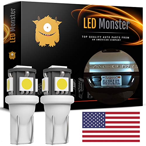 LED Monster Polarity FREE 2 x 168 194 T10 5-SMD LED Bulbs Car License Plate Lights Lamp White 12V ()