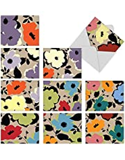 The Best Card Company - 10 Blank Flower Cards Boxed (4 x 5.12 Inch) - Assorted Floral Notecard Set - MP-Mini-AllOccasion-Flowers-Collage