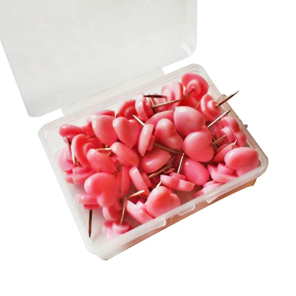Chakil 50PCS puntine a forma di cuore rosa carino Thumbtack creativo ufficio cancelleria