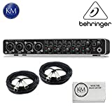 Behringer U-PHORIA UMC404HD - USB 2.0 Audio/MIDI Interface w/ 2 x 20ft Structure XLR Cables and K&M Micro Fiber Cloth Bundle
