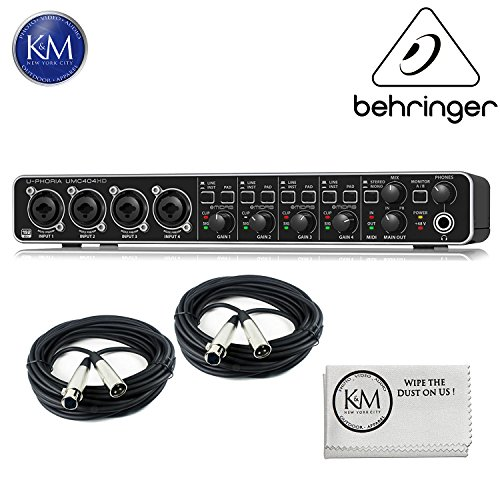 Behringer U-PHORIA UMC404HD USB 2.0 Audio MIDI Interface with 2 x Senor 20ft Structure XLR Cables and Zorro Sounds Cloth Bundle