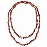 "BjB Endless Infinity Style 8MM Semi-precious Genuine Red Jasper Stone Beaded Necklace, 60"" Long."