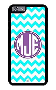 iZERCASE iPhone 6 Case Monogram Personalized Aqua Blue and White Chevron with Purple Monogram RUBBER CASE - Fits iPhone 6 T-Mobile, AT&T, Sprint, Verizon and International (Black)