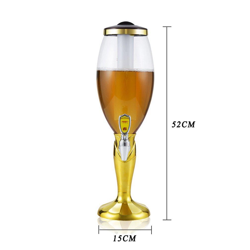 WAOBE Dispensador De Cerveza - Copa Circular Portátil De La Cerveza del Diseño De La Taza De Mundo, 1.5L/3L con El Color Cambiante Llevado Dentro De ...