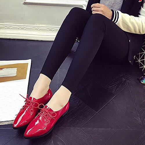 Cybling Leer Lage Hakken Schoenen Voor Dames Spitse Dichte Teen Veters Dikke Oxfords-schoenen Rood