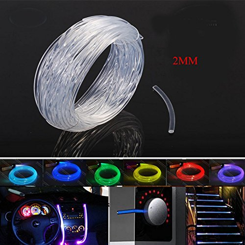 Raysell 2mm Car Home LED Lighting Decoration PMMA Side Glow Fiber Optic Cable DIY 10 meter length