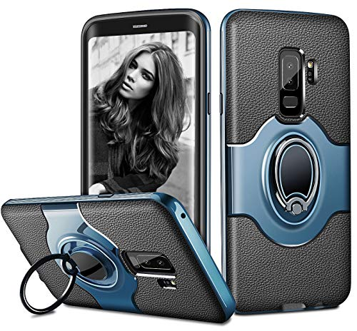 ELOVEN Slim Case for Samsung S9 Plus, Galaxy S9 Plus Case Metal Ring Holder Kickstand Shockproof Bumper Cover Anti-Scratch Hybrid Dual Layer Grip Protective Case for Samsung Galaxy S9 Plus Deepblue