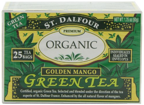 ST. DALFOUR Green Tea, Golden Mango, 25-Count Tea Bags (Pack of 6)