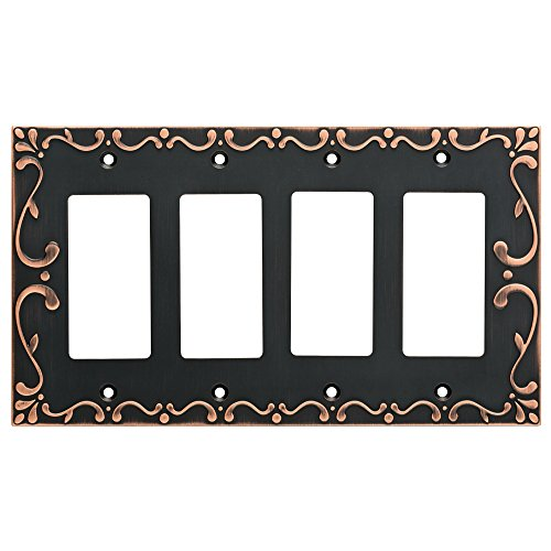 Franklin Brass W35081-VBC-C Classic Lace Quad Decorator Wall Switch Plate/Cover, Bronze With Copper Highlights
