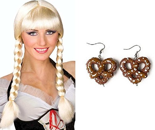 Nicky Bigs Novelties Blonde Bavarian Dutch Braided Wig Pretzel Earrings Inga Oktoberfest Costume -