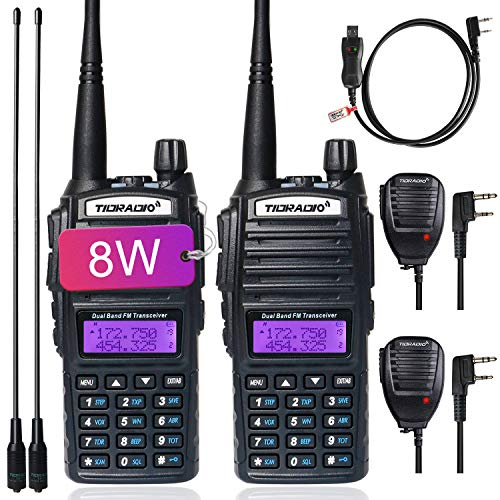 TIDRADIO UV-82 Ham Radio High Power Dual Band Radio UHF VHF Two Way Radio with Driver Free Programming Cable and Long Antenna 2Pack