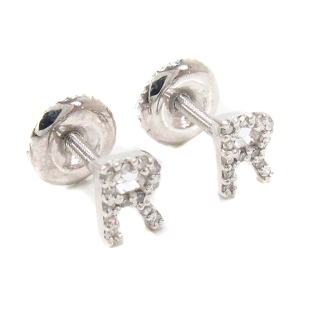 14K White Gold Genuine Real Round Cut Diamond Initial Letter Stud Earrings With Secure Screw Backs (R)