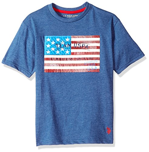 U.S. Polo Assn. Boys' Little' Short Sleeve Fancy Crew Neck T-Shirt, Team USA Flag Rinse Blue Heather, 5/6 ()