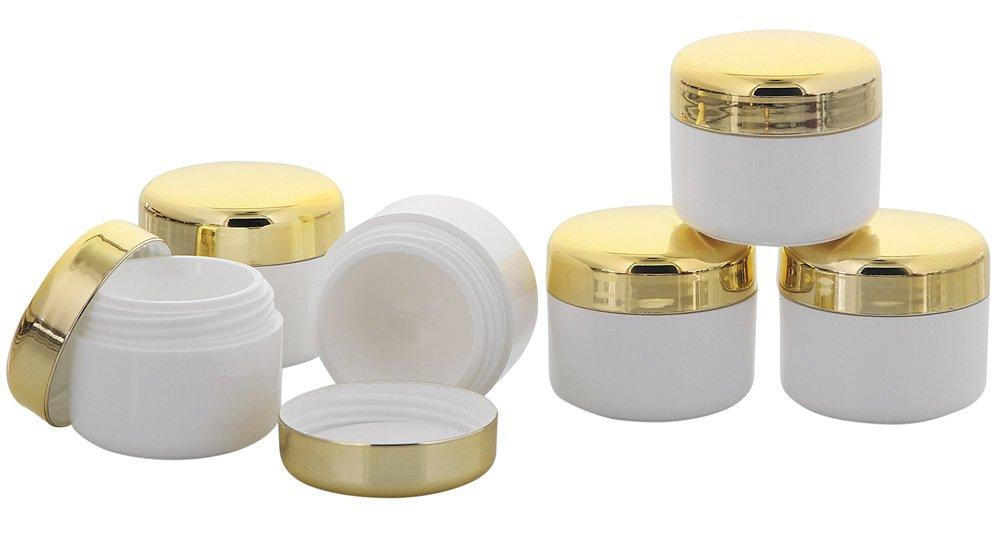 Cremedose, Kunststoff-Tiegel, m. gold Deckel, Kosmetikdose, Kosmetex Dose, leer, 6er mix