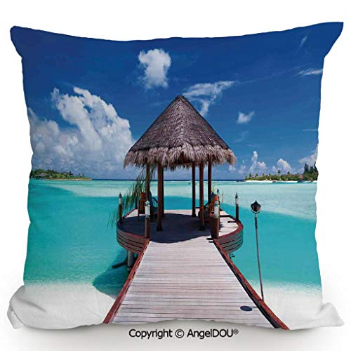 - AngelDOU Fashion Sofa Cotton Linen Throw Pillow Cushion,Jetty and The Ocean View on Tropical Caribbean Island Beach Resort Image,Bed Office car Pillow Customized Accept.23.6x23.6 inches
