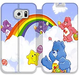 Personality Design Care Bear-15 iPhone Samsung Galaxy S6 Edge Leather Flip Case