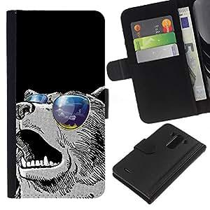 YiPhone /// Tirón de la caja Cartera de cuero con ranuras para tarjetas - Enfriar gafas de sol Oso - LG G3