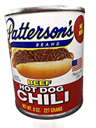 Hot Dog Chili By Pattersons - Original Recipe Since 1942 - Great on Hamburgers Too! 8 Ounce Cans (6 Cans Per Order)