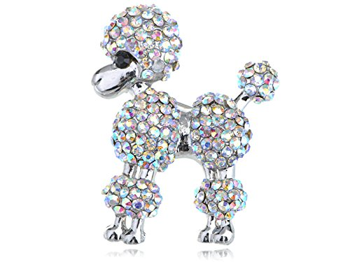 Alilang Silvery Tone Iridescent Rhinestones Poodle Puppy Show Dog Brooch Pin