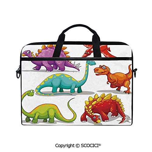 - Printed Waterproof Laptop Shoulder Messenger Bag Case Colorful Funny Different Dino Collection Friendly Wildlife Extinct Animals Ice Age Decorative for 15 Inch Laptop Notebook