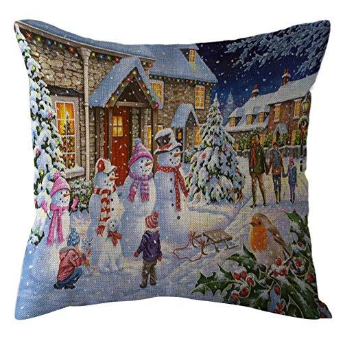 Pgojuni Christmas Throw Pillow Cases Linen Sofa Throw Cushion Cover Home Decor 1pc 45cmx45cm (I) -