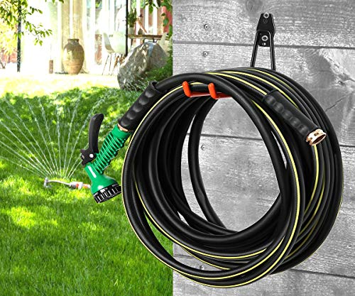 50 ft Garden Hose, No Kink Water Hose with 7 Function Spray Nozzle Gun – 5/8 inch Flexible Heavy Duty Water Pipe for Car Wash, Garden Watering, Patio Lawn House Cleaning (Black)