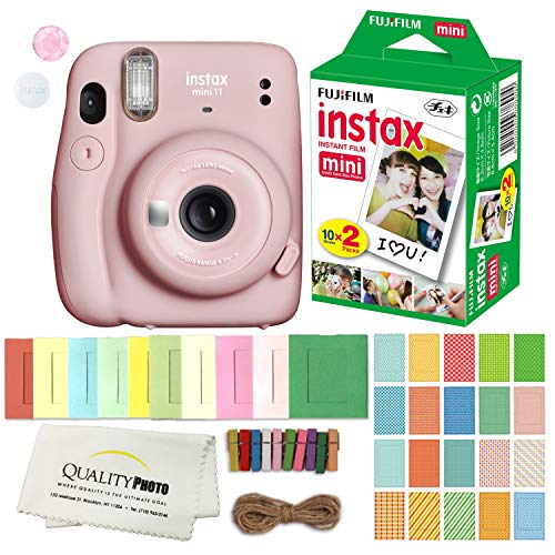 FUJIFILM INSTAX Mini 11 Instant Film Camera Plus Instax Film and Accessories Stickers, Hanging Frames and Microfiber Cloth (Blush Pink)