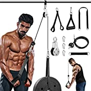 Pulley System Gym, Cable Pulley, Tricep Pulley System for Arm Strength Training,1.8Meter DIY Pulley Cable Atta