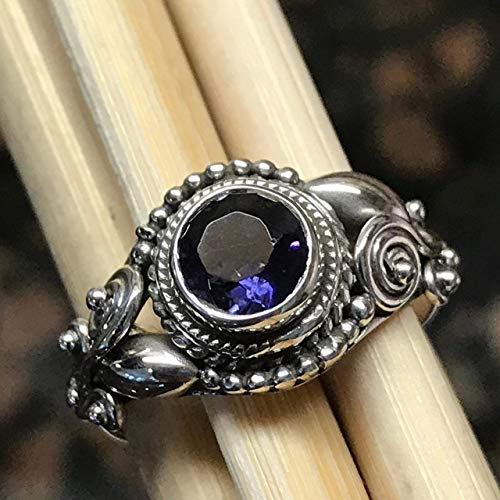 Genuine 1ct Iolite Water Sapphire 925 Solid Sterling Silver Art Deco Engagement Ring sz 6, 6.25, 6.75, 7.75, 9, 9.5, by Natural Rocks by Kala