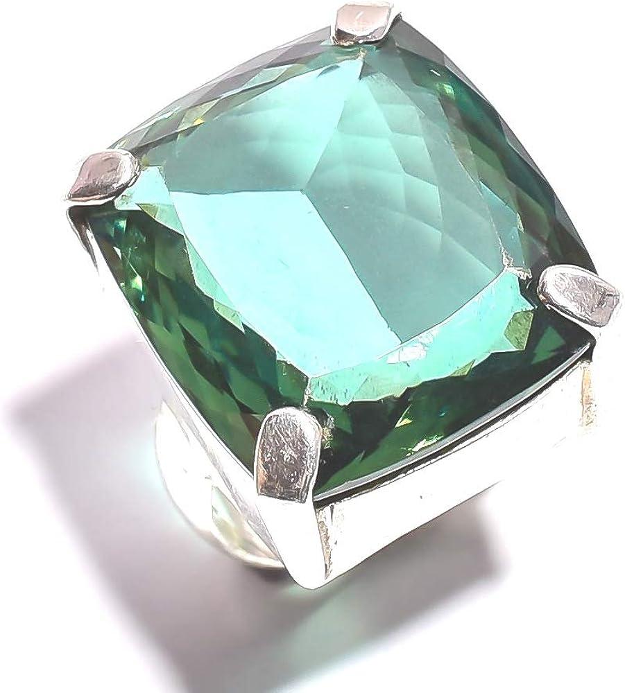 Mughal Gems & JewelleryAnillo de Plata esterlina 925 Anillo de joyería Natural con Piedras Preciosas de Amatista Verde Natural (tamaño 6 U.S)