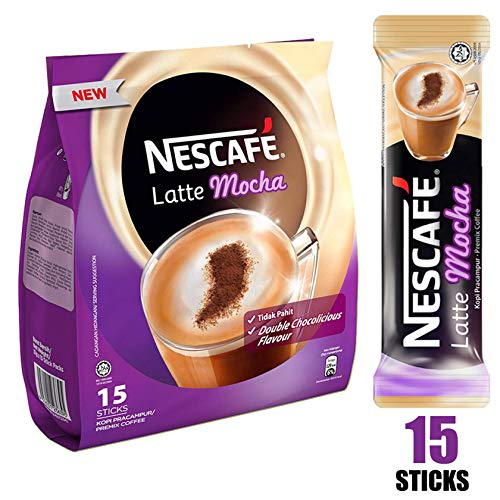 Nescafe 3 in 1 MOCHA Coffee Latte - Instant Coffee Packets - Single Serve Flavored Coffee Mix (15 Sticks)