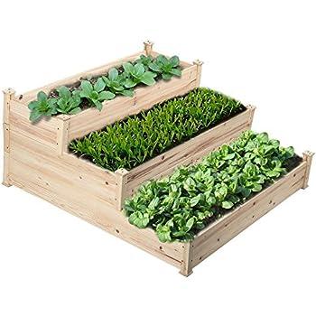 Greenes 4 Ft X 4 Ft X 21 In Tiered Cedar Raised Garden Bed Garden Outdoor