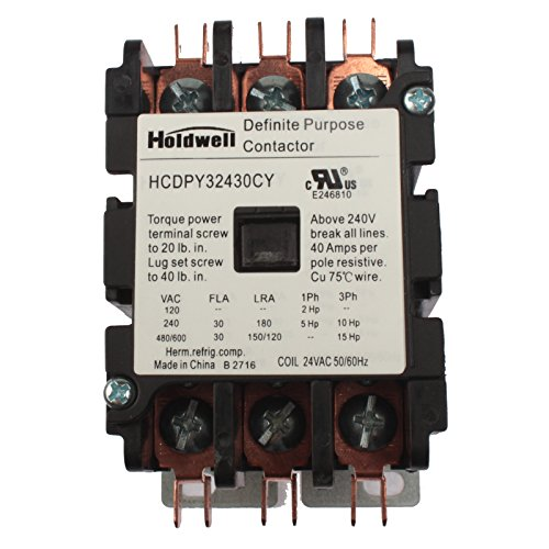 purpose contactor standard 3 pole top 10 results  holdwell 42bf35aj 3 pole 20 amp 25 amp 30 amp 24v coil definite purpose contactor