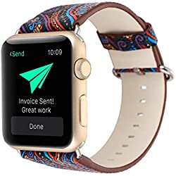 For Apple Watch Band,Voberry Premium Leather Replacement Strap for Apple Smart Watch 38mm (blue)