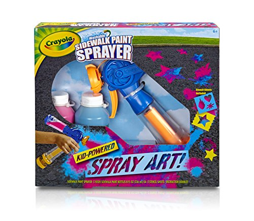Crayola Washable Sidewalk Paint Sprayer Kit Outdoor Art Gift for Kids 6 & Up, Includes Paint Sprayer, Neon Paint Bottles & Stencils for Creating Vivid Outdoor Art, Washes Away Easily (Best Paint For Sidewalks)