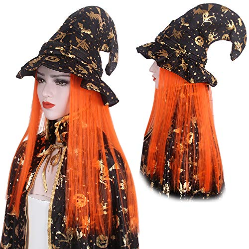 Wizard Hat Halloween Witch Pumpkin Hat with Orange Synthetic Wig Hair for Kids Girls Children Cosplay Costume Party Carnival