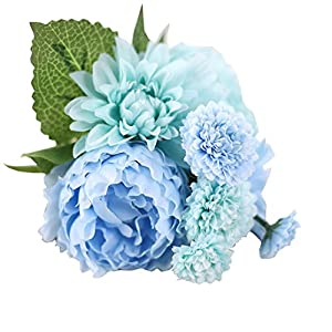 Outtop 5 Heads 12 Inch Peony Artificial Flowers Bouquets Fake Flower for Home and Wedding Decoration 5 Pcs 101