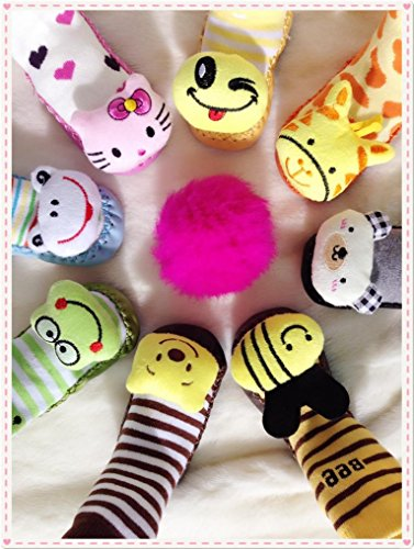 BEBEDOU - Calcetines tipo zapato antideslizantes, transpirables, cálidos, con suela de piel suave e 12 cm, de 6a 12meses, diseño conejito de dibujos animados, color rosa