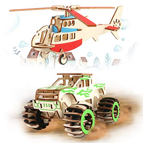 2 WOODEN MODELS – HELICOPTER & MONSTER TRUCK