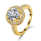 18K Gold Platinum Plated Rings, Women's Bands 18K Gold/ Platinum Plated Hearts & Arrows Cut Round CZ Jewelery Size 9 Epinki