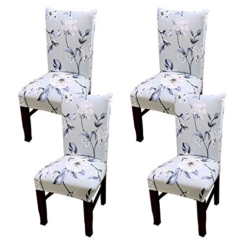 Coverurz Premium Stretch Fit Removable, Washable Spandex Dining Chair Covers, Seat Protector Slipcover for Dining Room, Hotel, Ceremony, Banquet and Wedding and Party (4 Per Set, CCS011)