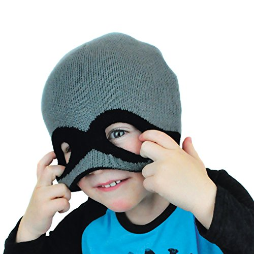 Boys Knit Bandit Mask Beanie - Neon Eaters - Winter hat with cut-out eye feature