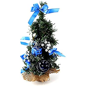 10 Mini Home Office Bedroom Livingroom Desk Top Artifical Christmas Tree With Pinecone Bows Gifts