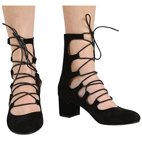 CORE COLLECTION New Womens Ladies Zip up MID Block Heel Cut Out Lace up Ankle Sandal Shoes Size 3-8 Black Suede Tr7BOOKR