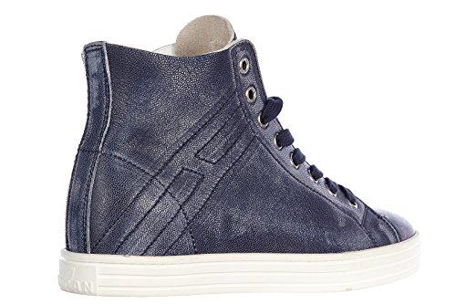 Hogan Rebel Dames Damesschoenen Lederen Schoenen Hoge Sneakers R182 Rebel Vintage Blu