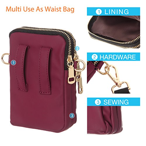 Water Wallet Purse Cell Phone Bags Small Red Waist Resistant Crossbody Women 71qUfq
