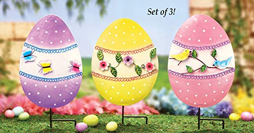 Collections Etc Floral Easter Egg Garden Decor Yard Stakes - Set of 3]()