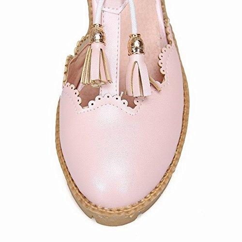 AllhqFashion Damen Fransig PU Hoher Absatz Rund Zehe Schnalle Pumps Schuhe Pink