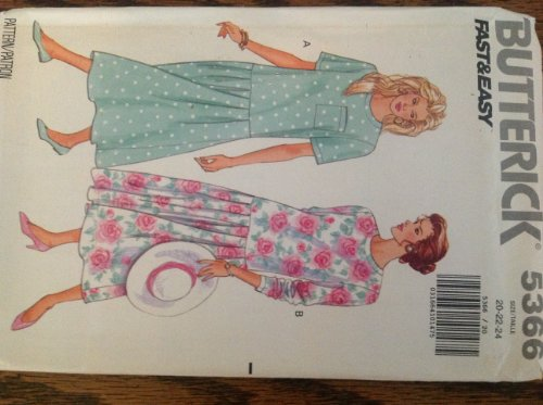(Butterick 5366 Fast Easy Sewing Pattern for Back Neck Opening, Drop Waist Pleated Dress with Long or Short Sleeves, & Optional Pocket in Misses 20-22-24)