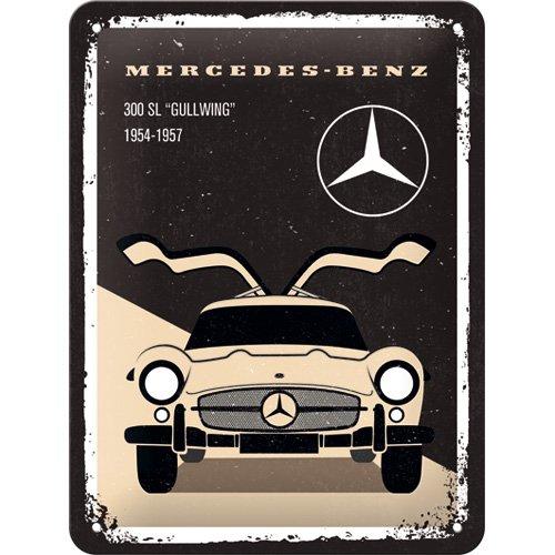 Nostalgic-Art 26225Mercedes-Benz–300SL Beige | Retro Cartel de Chapa | Vintage de Cartel, decoración de Pared, Metal, 15x 20cm